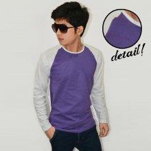 Raglan Tee Long Sleeve Purple White