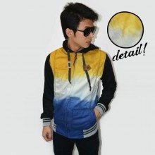 Jacket Denim Hoodie Gradation 3 Layer Yellow