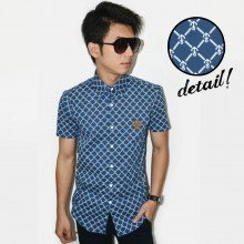 Kemeja Short Square Anchor Pattern Navy