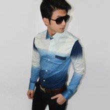 Long Shirt Gradation Blue