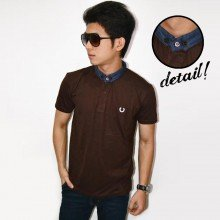 Polo Shanghai Neck Denim Brown