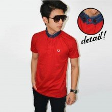 Polo Shanghai Neck Denim Red