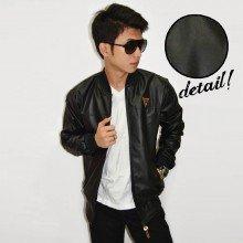 Jacket Varsity Leather Synthetic Black