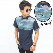 Kemeja Short Line Tribal Navy