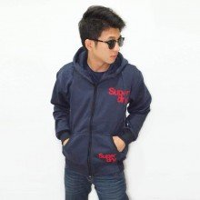 Jacket Simple Flocking Navy