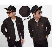 Jacket Varsity Leather Suede Dark Brown