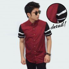 Kemeja Short Maroon Sleeve Black Stripe
