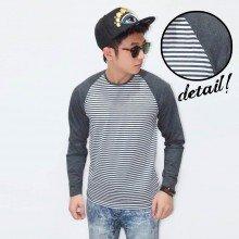 Raglan Stripe White Sleeve Dark Grey