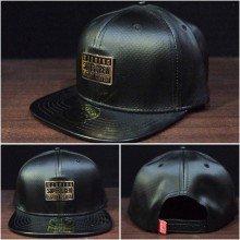 Topi Snapback Super Crew Leather Black