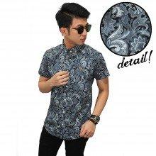 Kemeja Short Batik Leaf Monochrome
