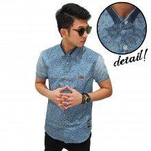 Kemeja Short Casual Batik Paisley Blue