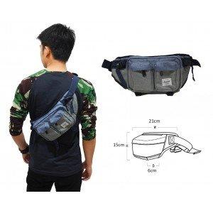 Waist Bag Premium Double Pocket Blue