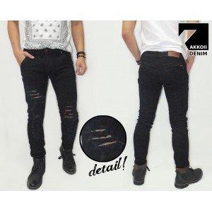 Jeans Pants Ripped Black Rocker Kakkoii