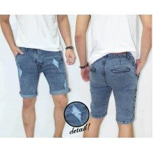 Celana Pendek Denim Ripped Blue Faded
