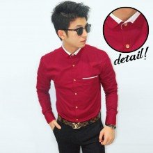 Kemeja Collar White List Maroon