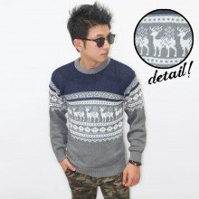 Knit Sweater Deer Tribal Grey