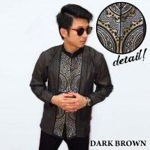 Baju Koko Panjang Bordir Abstract Dark Brown