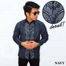 Baju Koko Panjang Bordir Abstract Navy