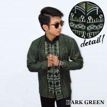 Baju Koko Panjang Bordir Zig Zag Dark Green