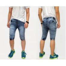 Joggers Capri Pants Acid Wash Blue Kakkoii