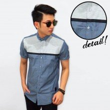 Kemeja Short Two Tone Oxford Blue