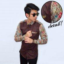 Kemeja Sleeve Batik Colorful Floral Brown