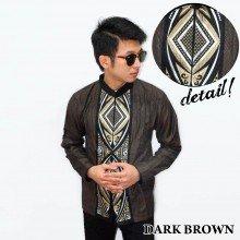 Baju Koko Panjang Bordir Ketupat Vector Dark Brown