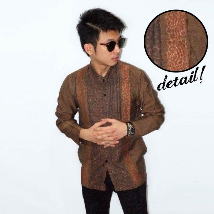 ace501270589 Baju Koko Panjang Double Bordir List Brown