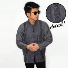 Baju Koko Panjang Double Bordir List Grey