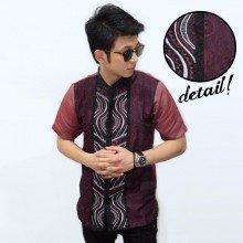 Baju Koko Pendek Bordir Combine Batik Maroon