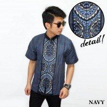 Baju Koko Pendek Bordir Gear Navy