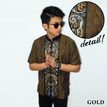 Baju Koko Pendek Bordir Keong Gold