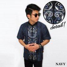 Baju Koko Pendek Bordir Keong Navy