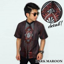 Baju Koko Pendek Bordir Vector Cahaya Dark Maroon