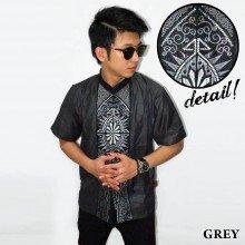 Baju Koko Pendek Bordir Vector Cahaya Grey