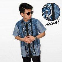 Baju Koko Pendek Bordir Vector Sinar Blue