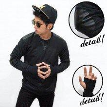 Jumper Fingerless Shoulder Elbow Leather Black