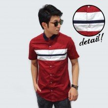 Kemeja Short Maroon White Middle Block