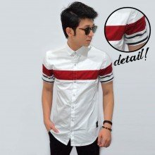 Kemeja Short White Middle Color Block