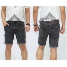 Celana Pendek Denim Ripped Black Faded
