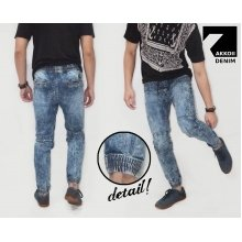 Joggers Pants Denim Marble Wash Bright Indigo