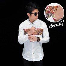 Kemeja Batik Middle Block White