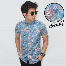 Kemeja Short Modern Batik Tenun Soft Blue