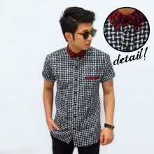 Kemeja Short Flannel Webbing Pattern White