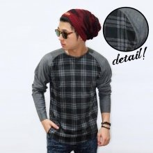 Raglan Body Tartan Square Grey