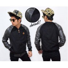 Varsity Jacket Corduroy Combine Leather Black