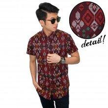 Kemeja Short Batik Tenun Ikat Maroon