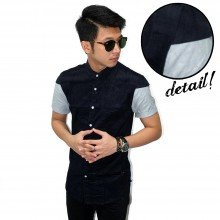 Kemeja Short Corduroy Knight Shoulder Black