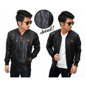 Jacket Varsity Wrinkled Leather Black