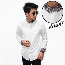 Kemeja Collar Batik Casual White